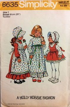 1970s cute Holly Hobbie dress apron and bonnet Simplicity 6635 vintage sewing pattern Toddler Size 1 Chest 20 Waist 19.5 Retro 70s style