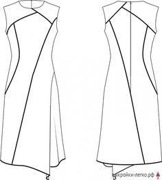 Технический рисунок готовой выкройки юбки-карандаш с воланами