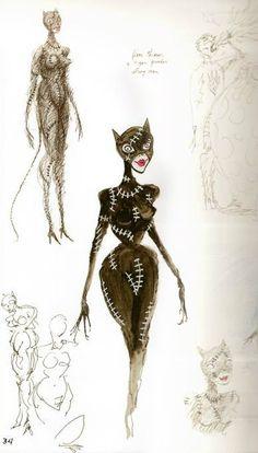 Tim Burton Sketches of Catwoman for Batman Returns. Tim Burton Stil, Tim Burton Kunst, Tim Burton Batman, Tim Burton Museum, Tim Burton Sketches, Tim Burton Artwork, Nananana Batman, Batman Returns, Museum Exhibition