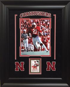 Roger Craig Nebraska Cornhuskers Signed Card Framed - Framed with acid free matting, suede top mat, and uv protectant glass - Engraved Nebraska logo and banner - Framed overall size 18x22 - $149 FREE SHIPPING ON ALL ORDERS   #Cornhuskers #Huskers #Nebraska #B1G #RogerCraig #iconmemorabilia #iconsandlegendsmemorabilia #framedart #memorabilia #sportsmemorabilia #footballmemorabilia #freeshipping