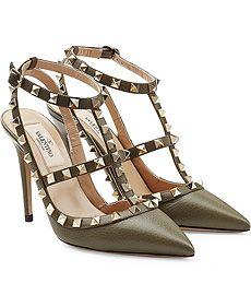 Pumps Ankle Strap Rockstud aus Leder von VALENTINO