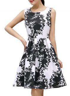 Huge discount on: Women Fashion Summer Sleeveless Print Cocktai Skater Dress