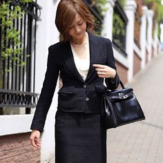 #outfit #入学式 #Jacket#Skirt#Knit all Yves Saint Laurent ニットにオーガンジーのCamelliaがあしらわれています by yoshikotomioka