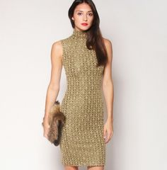 Hit the #hottest parties in this #christiansiriano #metallic #gold embossed knit turtleneck #dress. Stunning!