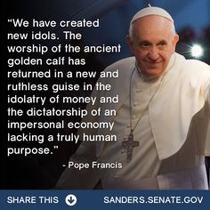Pope Francis on idolatry of money and impersonal economy