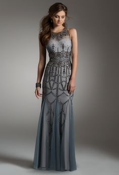 Beaded Neckline Dress with Illusion Back from Camille La Vie