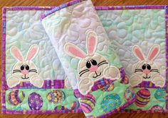 Peeking Bunny Placemats. . . .Set of Two. . .#adorableappliquebunnies. . .#prettyspringcolors. . .machinequilted on Etsy, $40.00