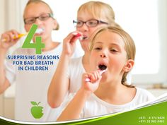 Here are five surprising causes of bad breath in children and how to stop them. Sinus Infection. Swollen Tonsils. Dry Mouth. Tooth Decay and Gum Disease. If your kids have tooth decay, it's time to see your dentist.  #AMDC #Dental_clinic