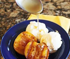 Grilled peaches with homemade caramel sauce.