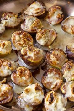 Figs with Gorgonzola and Walnuts...might have to sub goat cheese but they sound divine!