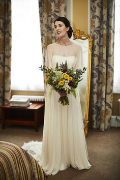Sarah wore 'Betty' by Jenny Packham for her Yorkshire Dales and English woodland inspired Autumn wedding in York. Photography by David Lindsay.
