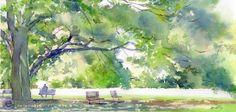 森の図書館 | 緑と水彩画と大きな木のイラスト | イラストレーター検索 illustrator e-space