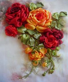 Ribbon embroidery - These are exquisite - want to learn to make them.
