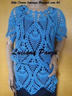 Oi, pessoal Bom Dia! Tudo azul por ai??? Visitei o blog da Luciana Panza e conheci seu trabalho em crochê e tricô. Ela tem m... Crochet Shawl, Knit Crochet, Crochet Bikini, Needlework, Crochet Patterns, Short Sleeve Dresses, Crop Tops, Knitting, Blouse
