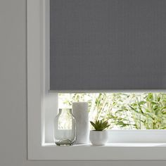 Ilas Corded Grey Plain Blackout Roller Blind This blind has a blackout coating which is designed to stop all light entering your room; perfect for nurseries and for night shift workers. Blackout roller blind by Colours Grey Roller Blinds, Roller Shutters, Bathroom Blinds, Blackout Blinds, Shutter Doors, Front Rooms, Window Dressings, Blinds For Windows