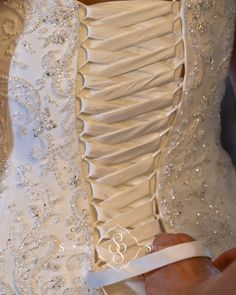 detail photo of a corset back dress