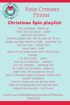 I created a great christmas spin playlist for class today and so excited to use it again on Wednesday. It was festive but allowed for a GREAT sweat sessio Travel Workout, Cycling Workout, Spin Class Routine, Spin Quotes, Spin Playlist, Playlist Ideas, Spin Instructor, Christmas Playlist, Christmas Music