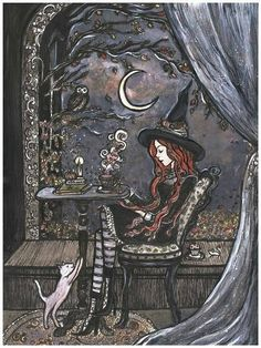 Study Break at Magick School is part of Witch art This is a high quality print It measures at and has a small white border to allow for mounting or framing It comes titled and signed in the - Halloween Illustration, Ciel Nocturne, Witch Art, Witch Painting, Painting Art, Witch Drawing, Witch Aesthetic, Halloween Art, Halloween Images