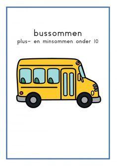 Rekenrups met bussen en cijfers - jufbijtje.nl