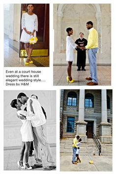 Even at a court house wedding there is still elegant wedding style…. Dress by H&M