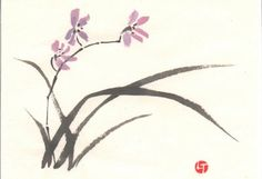 Chinese Painting: Orchids by veatariel Sumi E Painting, Japan Painting, Watercolor Painting Techniques, China Painting, Watercolor Paintings, Watercolour, Ink Paintings, Chinese Painting Flowers, Orchids Painting