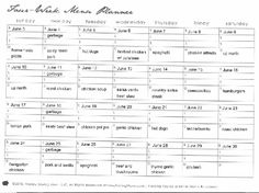 Cooking Ahead - meal planning