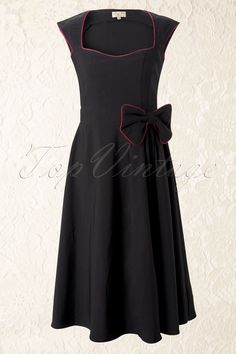Lindy Bop - 1950's Grace Black Bow vintage style swing party rockabilly