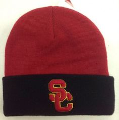USC Trojans Cuffed Beanie Red/Black adult New By Trojans Authentic Apparel