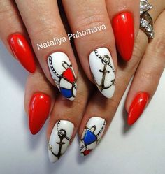 Beautiful summer nails, Drawings on nails, Long nails, Marine nails, Nails nautical, Nautical nails, Original nails, Red and white nails