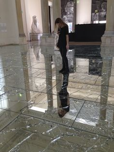 Broken glass floor at the National gallery of modern and contemporary art, Rome, Italy