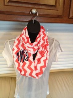 Monogrammed Coral and White Chevron Infinity by LilCsBoutique, $22.00