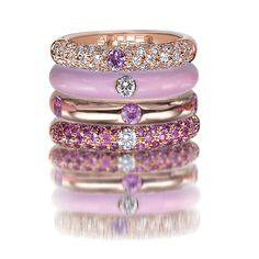 Adolfo Courrier Classic Bon-Bon 18 Karat Rose Gold, Enamel, Pink Sapphire, & Diamond Stack Ring Set  #stealmyheart
