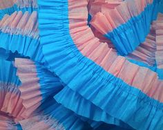 36 Feet Turquoise and  Pink Ruffled Crepe by CharmiosCraftParty