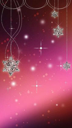 Pink Wallpaper with silver snowflakes