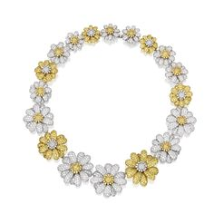 18 Karat Two-Color Gold, Diamond and Yellow Sapphire Necklace by Michele della Valle