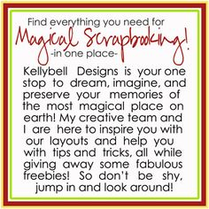 Wow, lots of amazing stuff here including some freebies for digital scrapbookers. Everything Disney!