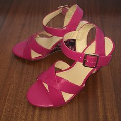 Pretty hot pink wedges  Beautiful wedges in hot pink color ...4 inches heels .... Never worn! Bundles are welcomed- 15% off on 2 items and 20% on 3 or more items  Shoes Wedges