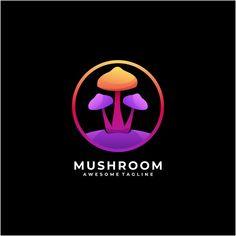 Modern Logo Design, Graphic Design, Abstract Logo, Psychedelic, Stuffed Mushrooms, Food Template, Logo Food, Colorful, Ninja