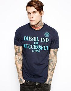 Diesel T-Shirt T-Dif Flock Logo Print