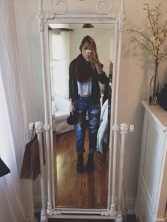 ootd! topshop boyfriend jeans and booties, brandy white shirt and jacket, aa scarf :~)