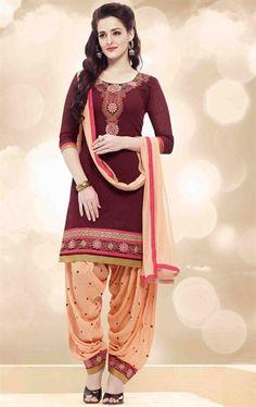 Picture of Maroon Color Patiala Salwar Kameez