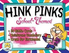 These school-themed Hink Pink riddles are a great way to develop your students vocabulary skills, improve their knowledge of synonyms, and challenge them to think critically.