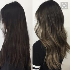 27 New ideas hair color asian balayage light browns Ombre Highlights, Dark Hair With Highlights, Asian Highlights, Brunette Color, Brunette Hair, Dark Brunette, Babylights Brunette, Blonde Color, Cabello Color Chocolate
