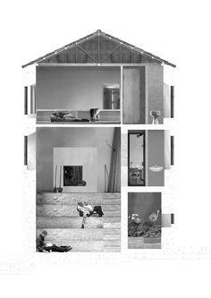 section collage/visualisation | Amphitheater House | Aristide Antonas | Hydra, Greece | 2007