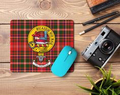 Rubber mousemat with MacDougall Clan Crest and Tartan