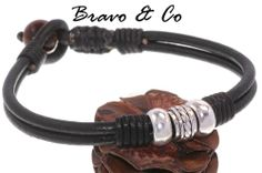 5B-570 Sterling Silver, Leather & Tigers Eye Stone Surf Wristband Men Bracelet.