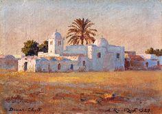 Peinture Algérie - Douar Chott - A. Roubtzoff 1929