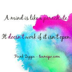 A mind is like a parachute. It doesn't work if it isn't open.  Frank Zappa