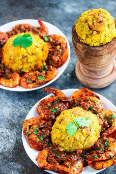 Mofongo con Camarones (Mashed Plantains with Shrimp) Recipe - Kitchen De Lujo Shrimp Recipes, Mexican Food Recipes, Dinner Recipes, Ethnic Recipes, Mashed Plantains, Boricua Recipes, Cooking Recipes, Healthy Recipes, Healthy Breakfasts
