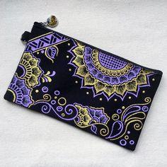 Hand Painted Henna bag Mandala bag Pattern Zipper Pouch Coin Purse Cotton Cosmetic Bag Pencil Case Phone Wallet Hand Drawn Art